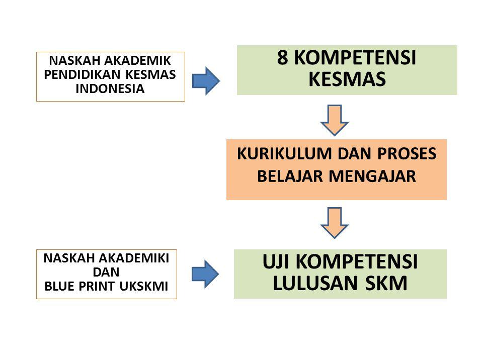 KURIKULUM DAN PROSES BELAJAR MENGAJAR UJI KOMPETENSI LULUSAN SKM 8 KOMPETENSI KESMAS NASKAH AKADEMIK PENDIDIKAN KESMAS INDONESIA NASKAH AKADEMIKI DAN