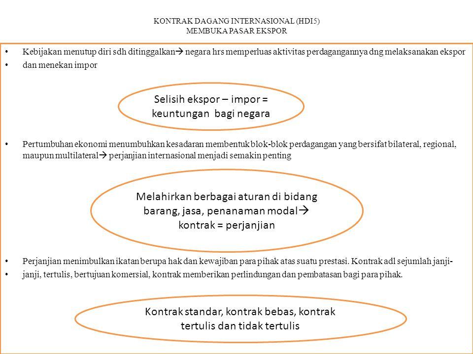KONTRAK DAGANG INTERNASIONAL (HDI5) MEMBUKA PASAR EKSPOR Kebijakan menutup diri sdh ditinggalkan  negara hrs memperluas aktivitas perdagangannya dng