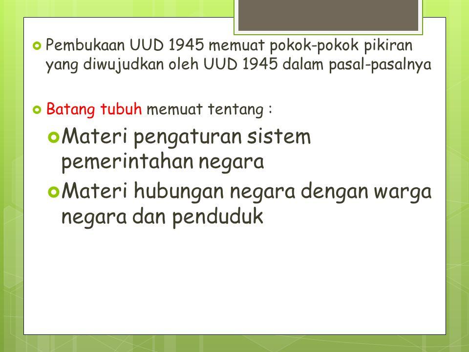  Pembukaan UUD 1945 memuat pokok-pokok pikiran yang diwujudkan oleh UUD 1945 dalam pasal-pasalnya  Batang tubuh memuat tentang :  Materi pengaturan