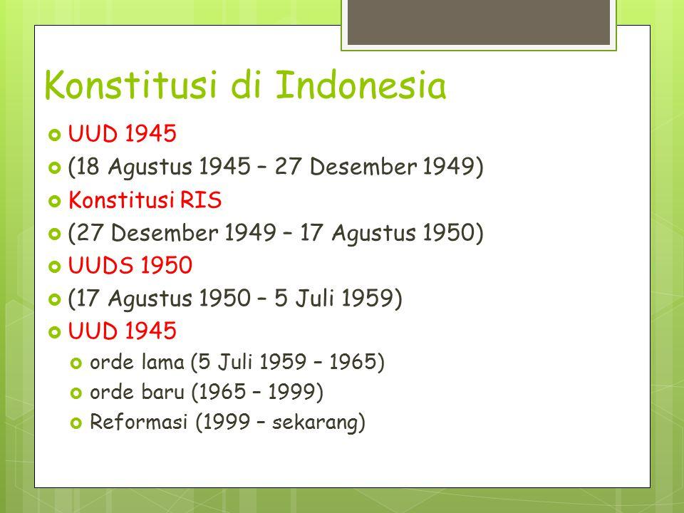 Konstitusi di Indonesia  UUD 1945  (18 Agustus 1945 – 27 Desember 1949)  Konstitusi RIS  (27 Desember 1949 – 17 Agustus 1950)  UUDS 1950  (17 Ag