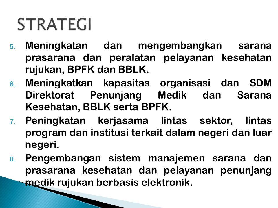 5. Meningkatan dan mengembangkan sarana prasarana dan peralatan pelayanan kesehatan rujukan, BPFK dan BBLK. 6. Meningkatkan kapasitas organisasi dan S