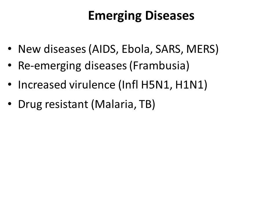 Emerging Diseases New diseases (AIDS, Ebola, SARS, MERS) Re-emerging diseases (Frambusia) Increased virulence (Infl H5N1, H1N1) Drug resistant (Malaria, TB)