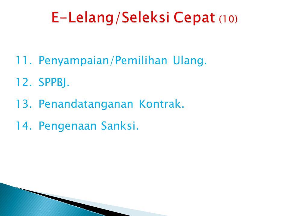 11.Penyampaian/Pemilihan Ulang. 12.SPPBJ. 13.Penandatanganan Kontrak. 14.Pengenaan Sanksi.