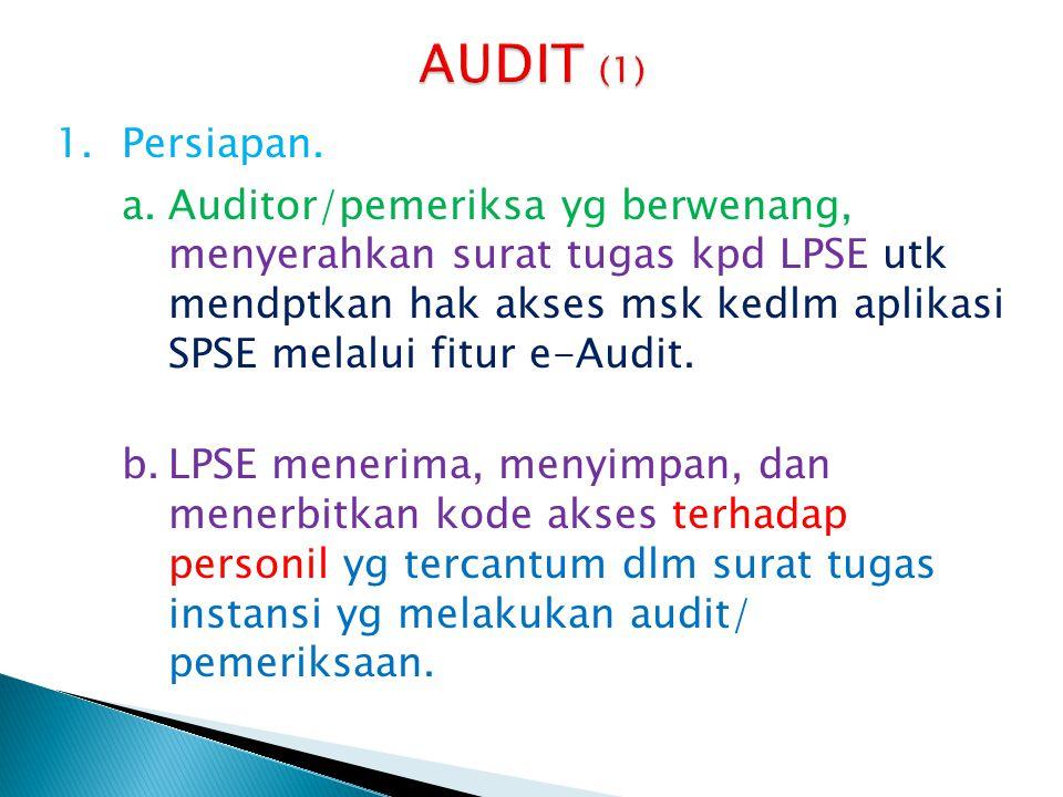 1.Persiapan. a.Auditor/pemeriksa yg berwenang, menyerahkan surat tugas kpd LPSE utk mendptkan hak akses msk kedlm aplikasi SPSE melalui fitur e-Audit.