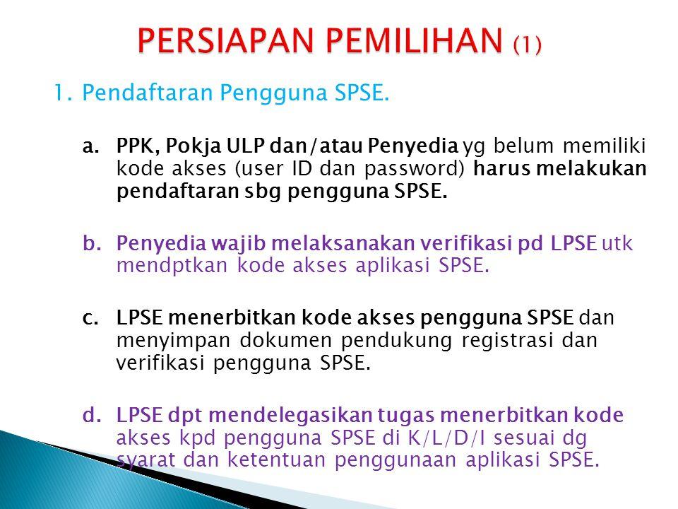 1.Pendaftaran Pengguna SPSE. a.PPK, Pokja ULP dan/atau Penyedia yg belum memiliki kode akses (user ID dan password) harus melakukan pendaftaran sbg pe