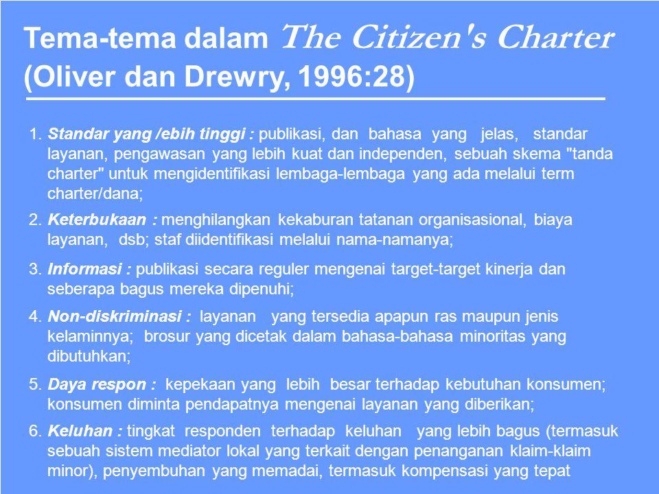 The Citizen's Charter dipresentasikan kepada Parlemen di Inggris oleh Perdana Menteri pada Juli 1991 dan dipublikasikan dalam bentuk Kertas Pemerintah
