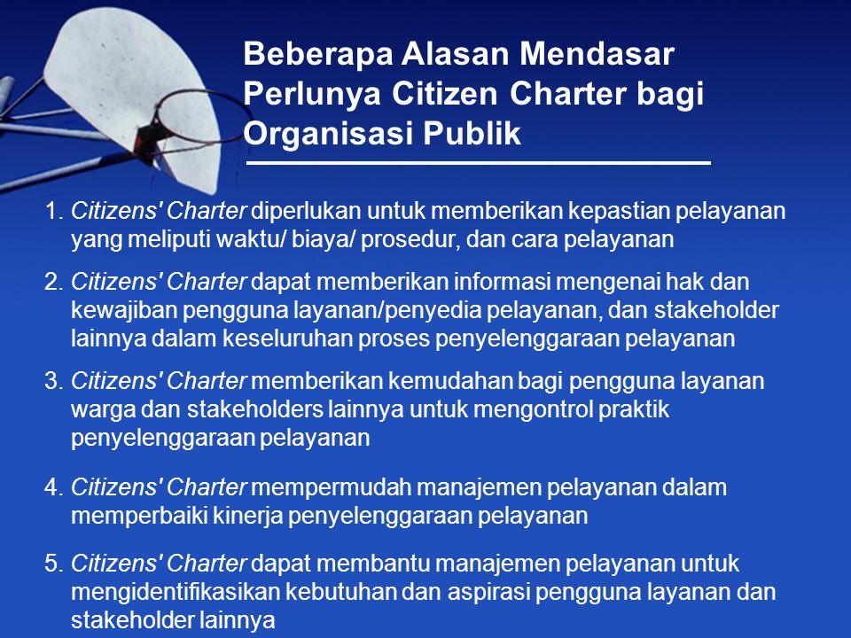 Gagasan Citizens Charter (CC) di Indonesia pertama kali dipopulerkan Pusat Studi Kependudukan dan Kebijakan UGM yang bekerja sama dengan The Ford Foundation.
