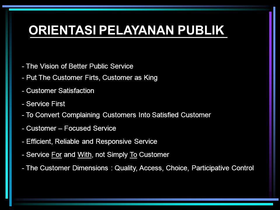 10 Dimensi yang harus diperhatikan dalam melihat tolok ukur kualitas pelayanan publik (Zeithaml (1990)) : 1. Tangible;6.Credibility; 2. Reliable;7.Sec
