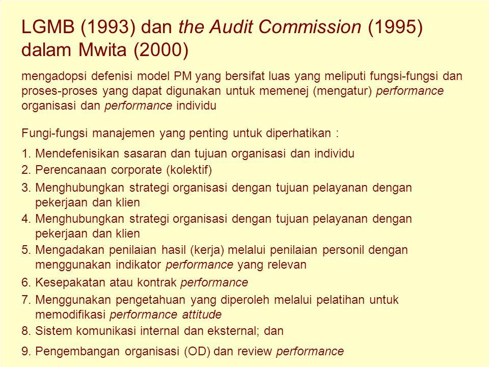 "P engertian Performance Management (PM) NAHT (1991) menggambarkan PM sebagai ""suatu proses yang menghubungkan orang dan pekerjaan dengan strategi dan"