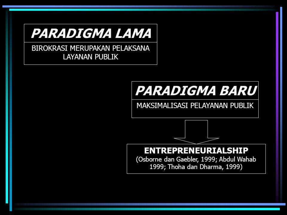 PARADIGMA LAMA PARADIGMA BARU BIROKRASI MERUPAKAN PELAKSANA LAYANAN PUBLIK MAKSIMALISASI PELAYANAN PUBLIK ENTREPRENEURIALSHIP (Osborne dan Gaebler, 1999; Abdul Wahab 1999; Thoha dan Dharma, 1999)