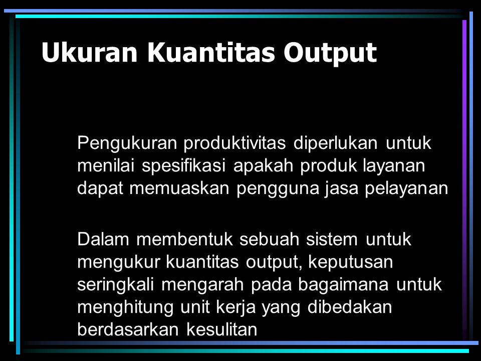 Pengukuran Produktivitas Menurut Rosen (1993) Ukuran Kuantitas Output Ukuran Input Ukuran Kualitas Output
