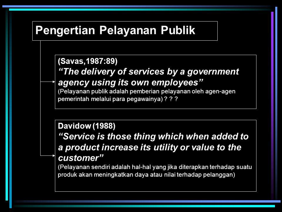Pengertian Pelayanan Publik (Savas,1987:89) The delivery of services by a government agency using its own employees (Pelayanan publik adalah pemberian pelayanan oleh agen-agen pemerintah melalui para pegawainya) .
