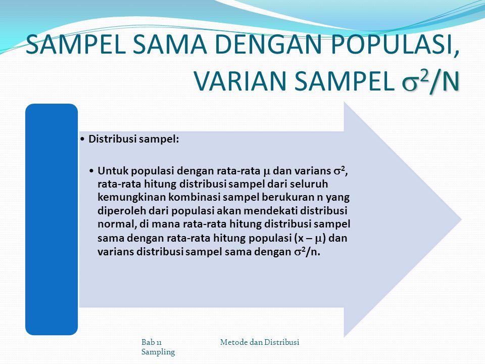  2 /N SAMPEL SAMA DENGAN POPULASI, VARIAN SAMPEL  2 /N Distribusi sampel: Untuk populasi dengan rata-rata  dan varians  2, rata-rata hitung distri