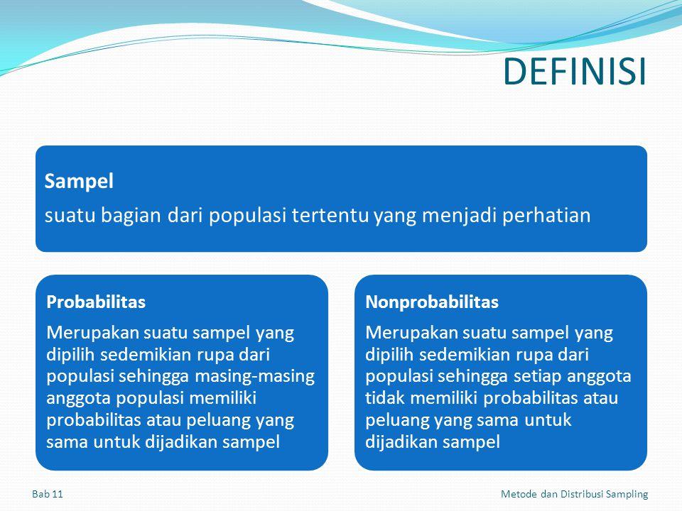 DEFINISI Sampel suatu bagian dari populasi tertentu yang menjadi perhatian Probabilitas Merupakan suatu sampel yang dipilih sedemikian rupa dari popul