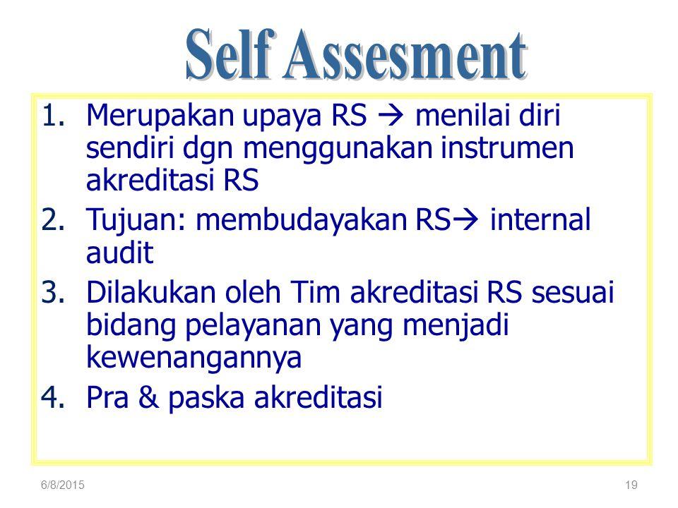 19 1.Merupakan upaya RS  menilai diri sendiri dgn menggunakan instrumen akreditasi RS 2.Tujuan: membudayakan RS  internal audit 3.Dilakukan oleh Tim