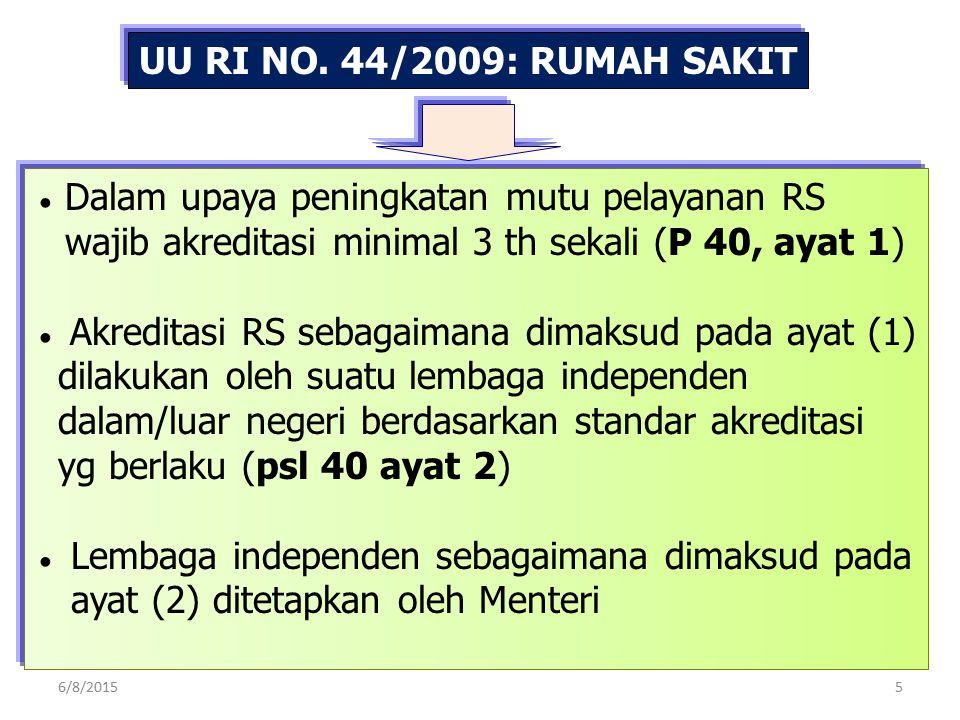 UU RI NO. 44/2009: RUMAH SAKIT ● Dalam upaya peningkatan mutu pelayanan RS wajib akreditasi minimal 3 th sekali (P 40, ayat 1) ● Akreditasi RS sebagai