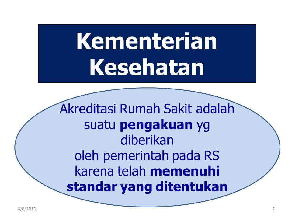 Akreditasi Rumah Sakit adalah suatu pengakuan yg diberikan oleh pemerintah pada RS karena telah memenuhi standar yang ditentukan Kementerian Kesehatan