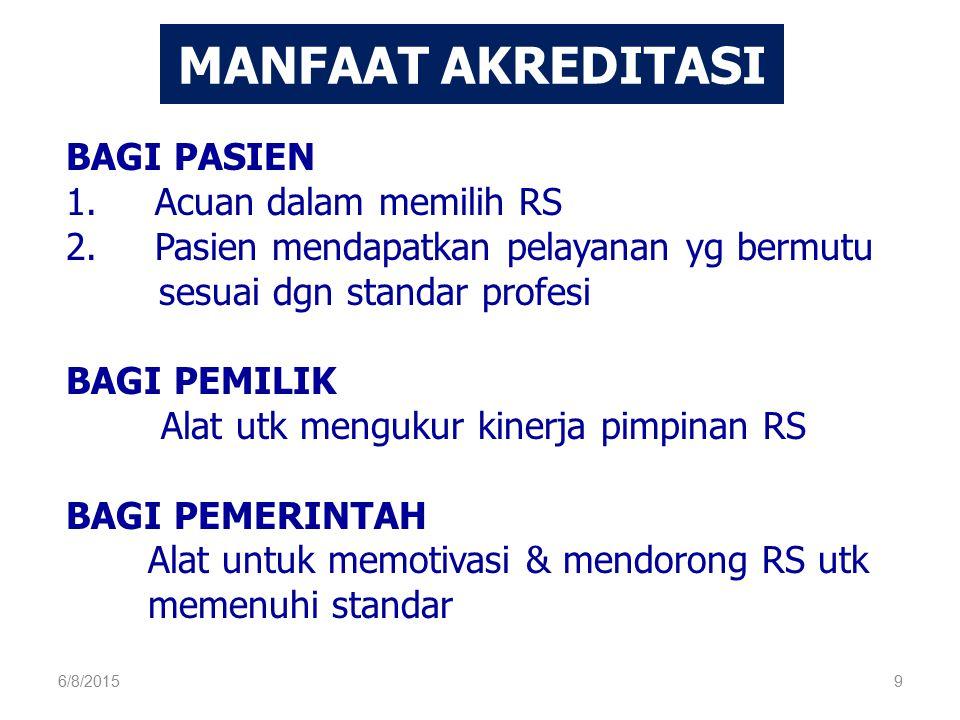 BAGI PASIEN 1. Acuan dalam memilih RS 2.Pasien mendapatkan pelayanan yg bermutu sesuai dgn standar profesi BAGI PEMILIK Alat utk mengukur kinerja pimp