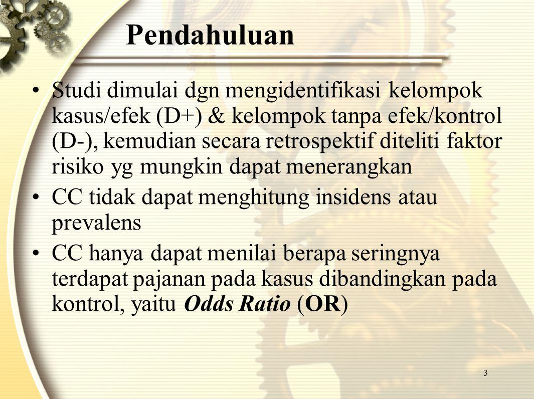 4 Jenis Studi Kasus Kontrol 1.Studi CC tanpa matching 2.Studi CC dengan matching
