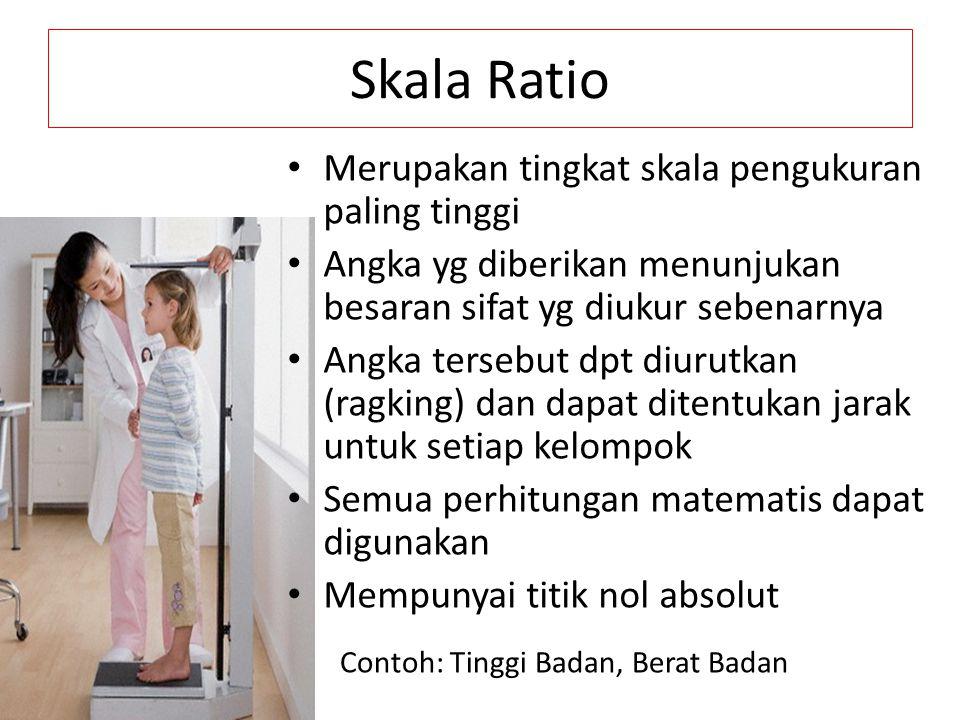Skala Ratio Merupakan tingkat skala pengukuran paling tinggi Angka yg diberikan menunjukan besaran sifat yg diukur sebenarnya Angka tersebut dpt diuru