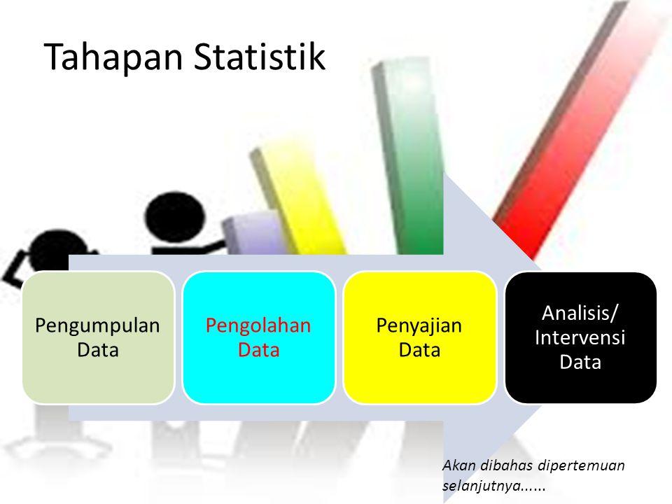 Tahapan Statistik Pengumpulan Data Pengolahan Data Penyajian Data Analisis/ Intervensi Data Akan dibahas dipertemuan selanjutnya......