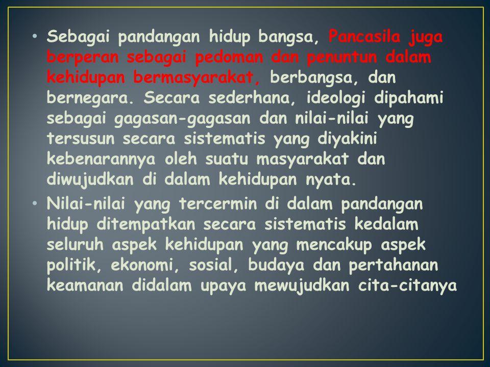 Sebagai pandangan hidup bangsa, Pancasila juga berperan sebagai pedoman dan penuntun dalam kehidupan bermasyarakat, berbangsa, dan bernegara. Secara s