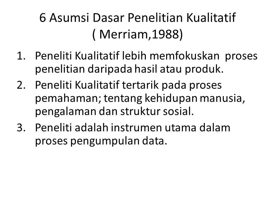 6 Asumsi Dasar Penelitian Kualitatif ( Merriam,1988) 1.Peneliti Kualitatif lebih memfokuskan proses penelitian daripada hasil atau produk. 2.Peneliti