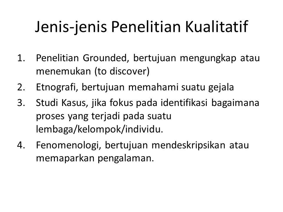 Jenis-jenis Penelitian Kualitatif 1.Penelitian Grounded, bertujuan mengungkap atau menemukan (to discover) 2.Etnografi, bertujuan memahami suatu gejal