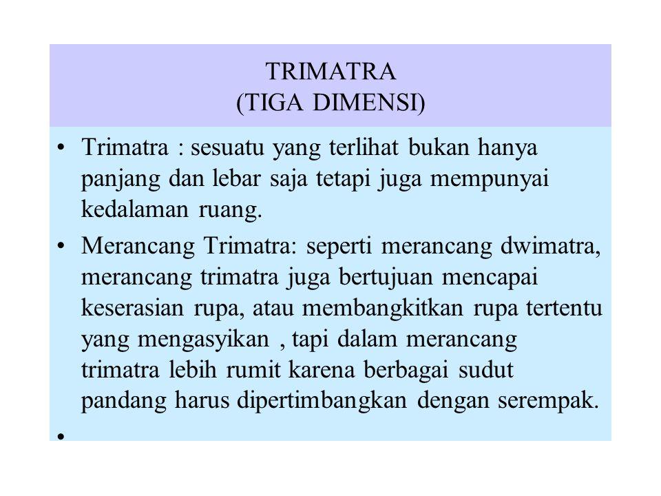 TRIMATRA (TIGA DIMENSI) Trimatra : sesuatu yang terlihat bukan hanya panjang dan lebar saja tetapi juga mempunyai kedalaman ruang. Merancang Trimatra: