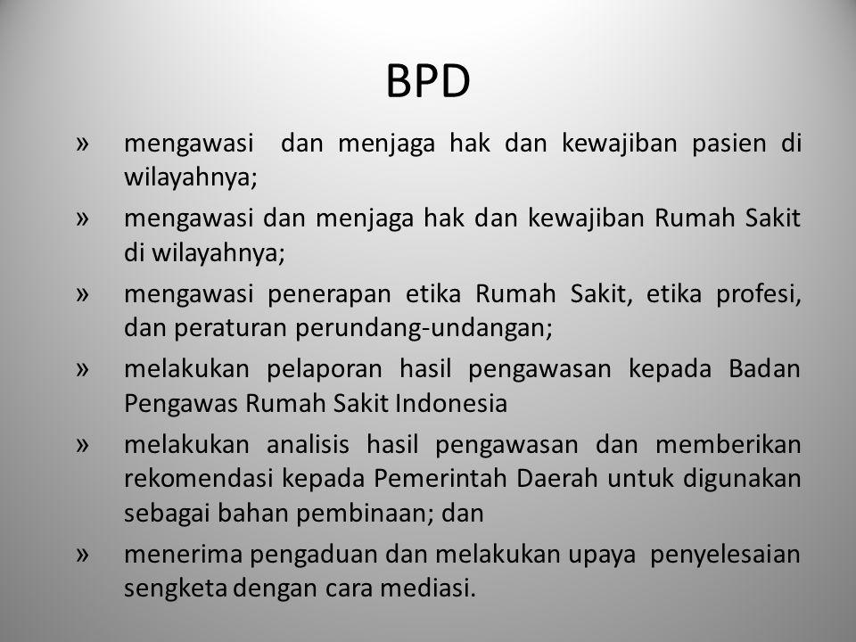 BPD » mengawasi dan menjaga hak dan kewajiban pasien di wilayahnya; » mengawasi dan menjaga hak dan kewajiban Rumah Sakit di wilayahnya; » mengawasi p