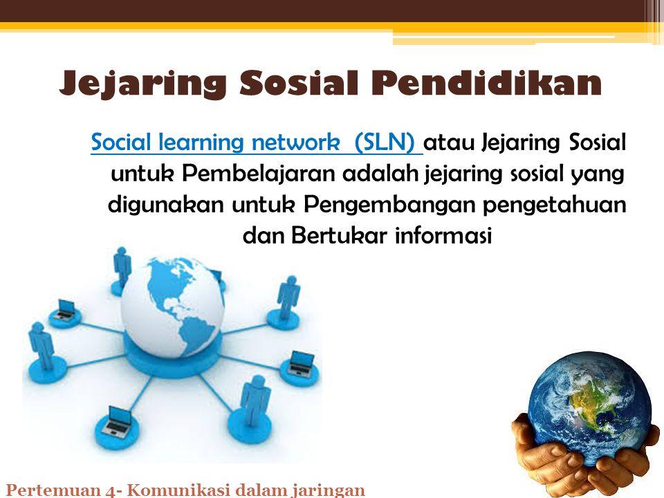 Jejaring Sosial Jejaring sosial atau social network (SN) adalah 'sebuah jejaring' yang menghubungkan satu orang dengan orang lain sehingga dapat berinteraksi sosial ke seluruh dunia Pertemuan 4- Komunikasi dalam jaringan