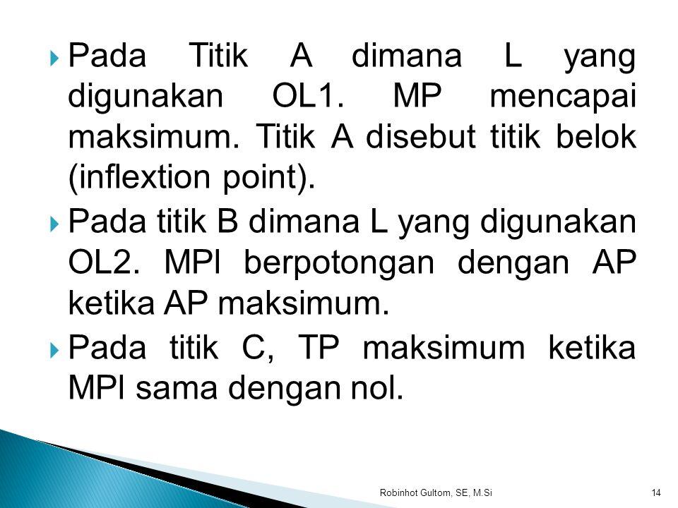TP Jumlah tenaga kerja MP L1L2 Jumlah tenaga kerja AP (i) Produksi Total ( ii) Produksi Marginal dan Produksi rata-rata L3 100 200 300 200 400 600 800