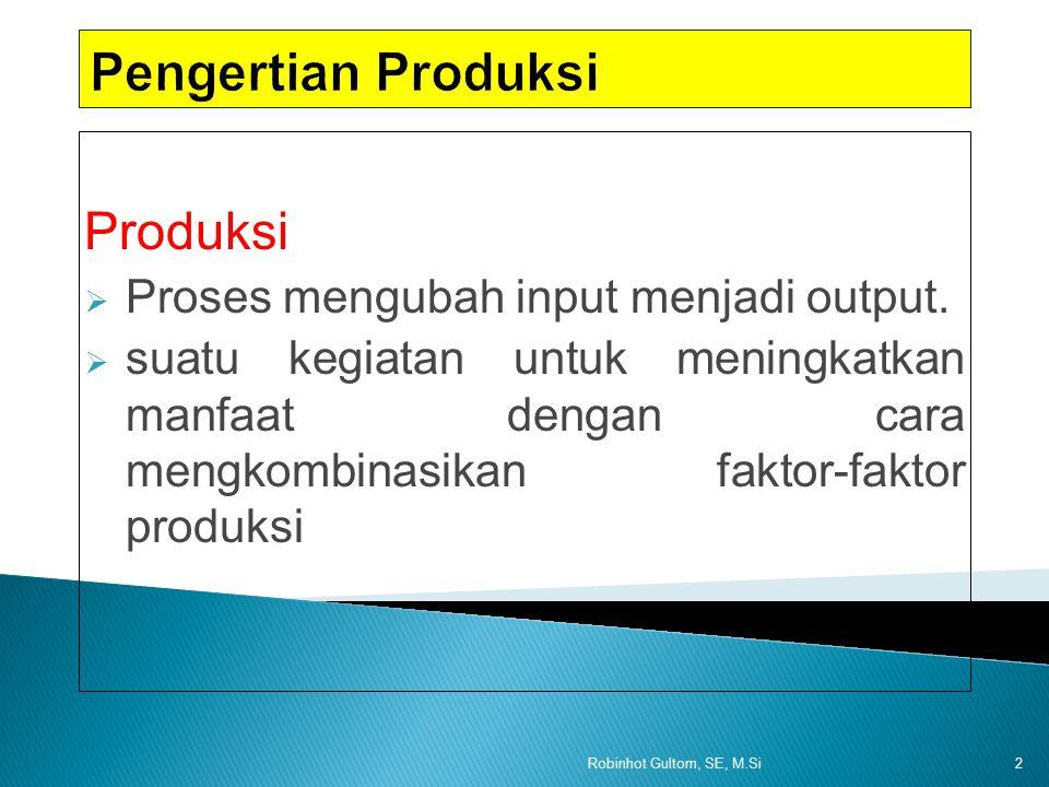 Tanah (1) Tenaga kerja (2) Produksi total (3) Produksi rata-rata (4) Produksi majinal (5) Tahap produksi (6) 11100 12300Tahap 13600Pertama 14880 151050Tahap 161140Kedua 171190 18 191100Tahap 110700Ketiga 12Robinhot Gultom, SE, M.Si