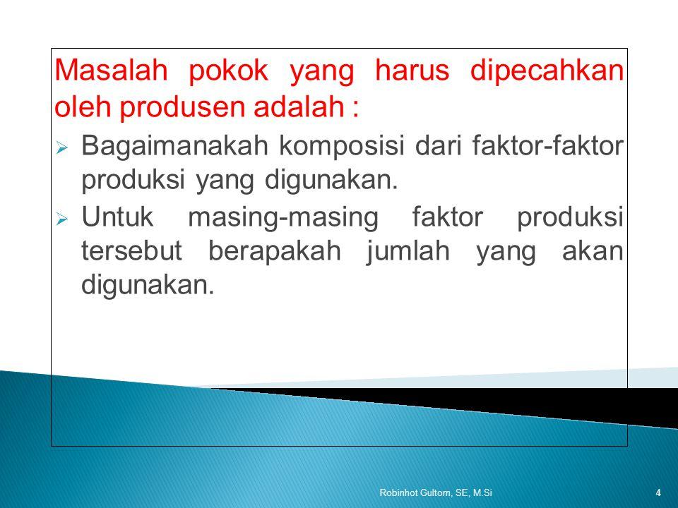 Masalah pokok yang harus dipecahkan oleh produsen adalah :  Bagaimanakah komposisi dari faktor-faktor produksi yang digunakan.