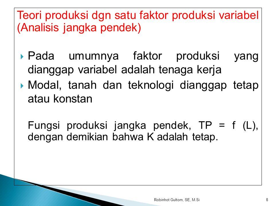 Teori produksi dgn satu faktor produksi variabel (Analisis jangka pendek)  Pada umumnya faktor produksi yang dianggap variabel adalah tenaga kerja  Modal, tanah dan teknologi dianggap tetap atau konstan Fungsi produksi jangka pendek, TP = f (L), dengan demikian bahwa K adalah tetap.