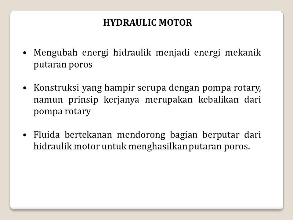 HYDRAULIC MOTOR Mengubah energi hidraulik menjadi energi mekanik putaran poros Konstruksi yang hampir serupa dengan pompa rotary, namun prinsip kerjanya merupakan kebalikan dari pompa rotary Fluida bertekanan mendorong bagian berputar dari hidraulik motor untuk menghasilkan putaran poros.