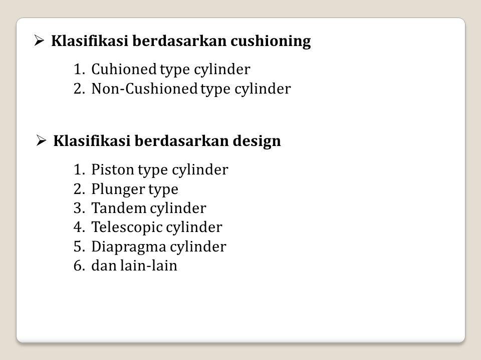  Klasifikasi berdasarkan cushioning 1.Cuhioned type cylinder 2.Non-Cushioned type cylinder  Klasifikasi berdasarkan design 1.Piston type cylinder 2.Plunger type 3.Tandem cylinder 4.Telescopic cylinder 5.Diapragma cylinder 6.dan lain-lain