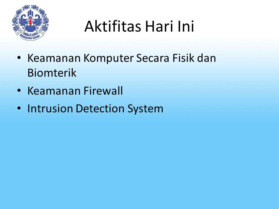 Aktifitas Hari Ini Keamanan Komputer Secara Fisik dan Biomterik Keamanan Firewall Intrusion Detection System