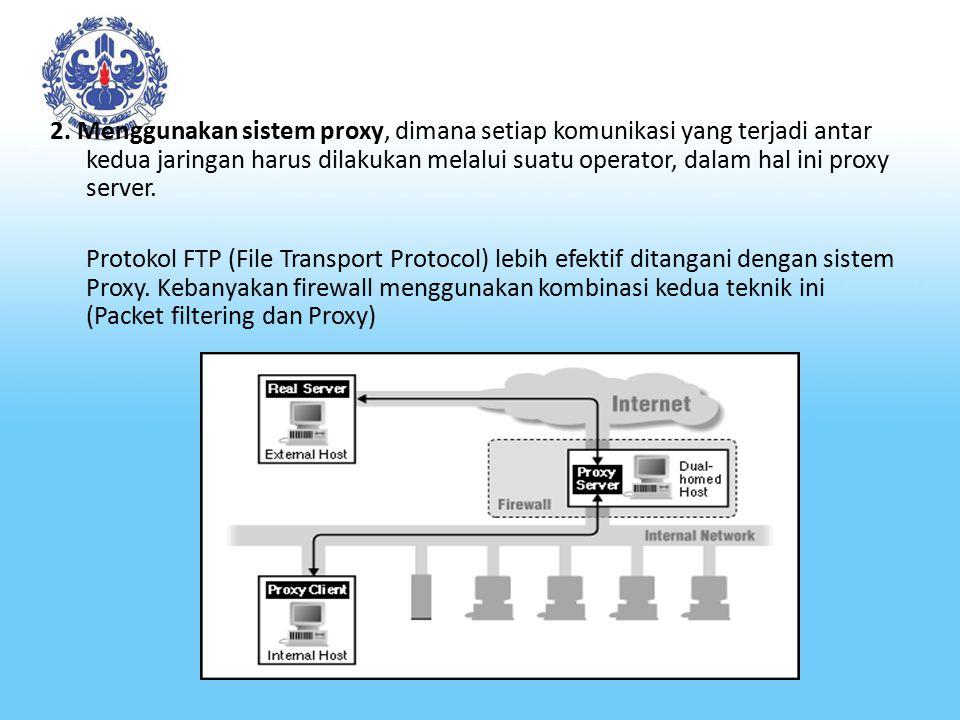 2. Menggunakan sistem proxy, dimana setiap komunikasi yang terjadi antar kedua jaringan harus dilakukan melalui suatu operator, dalam hal ini proxy se