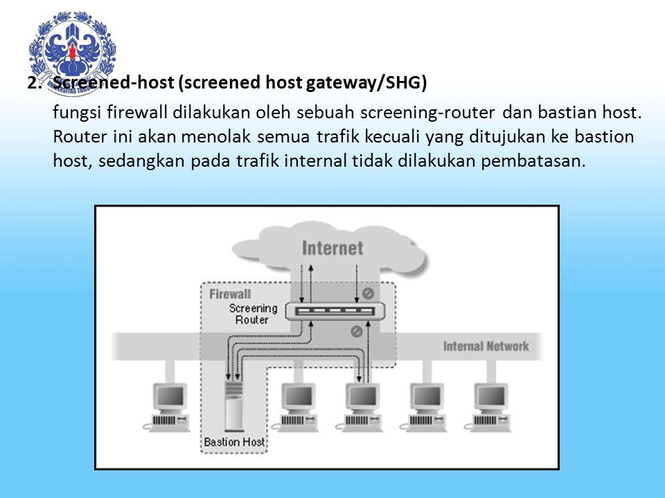 2.Screened-host (screened host gateway/SHG) fungsi firewall dilakukan oleh sebuah screening-router dan bastian host. Router ini akan menolak semua tra