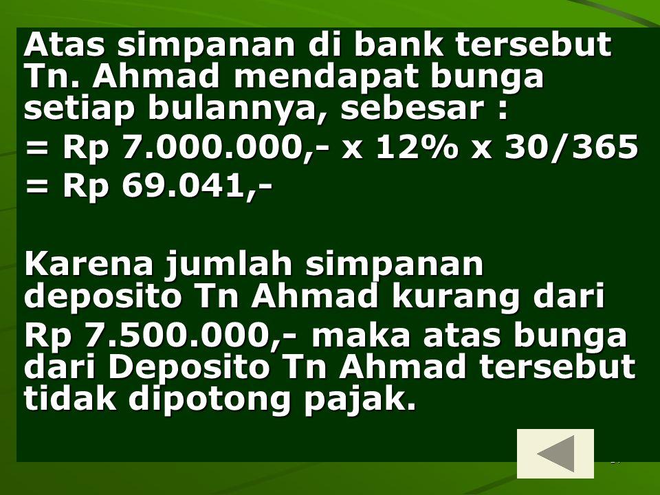14 Atas simpanan di bank tersebut Tn. Ahmad mendapat bunga setiap bulannya, sebesar : = Rp 7.000.000,- x 12% x 30/365 = Rp 69.041,- Karena jumlah simp