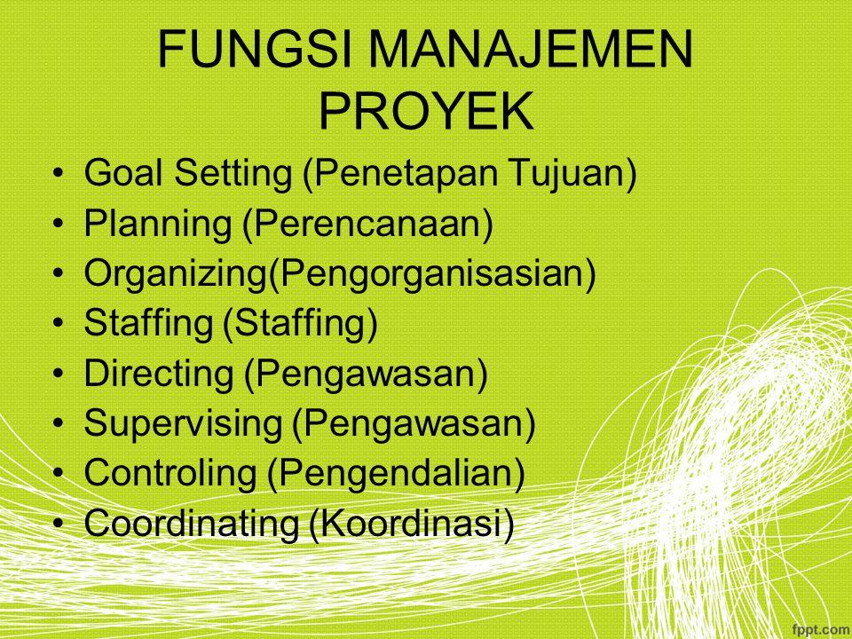 FUNGSI MANAJEMEN PROYEK Goal Setting (Penetapan Tujuan) Planning (Perencanaan) Organizing(Pengorganisasian) Staffing (Staffing) Directing (Pengawasan)