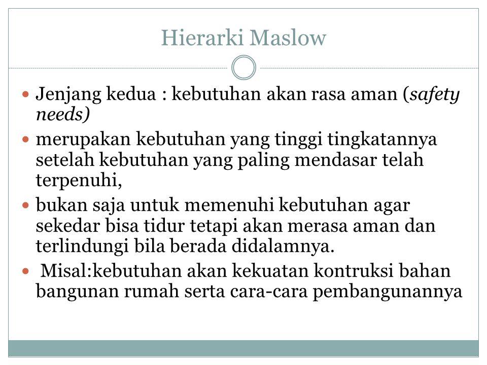 Hierarki Maslow Jenjang kedua : kebutuhan akan rasa aman (safety needs) merupakan kebutuhan yang tinggi tingkatannya setelah kebutuhan yang paling men