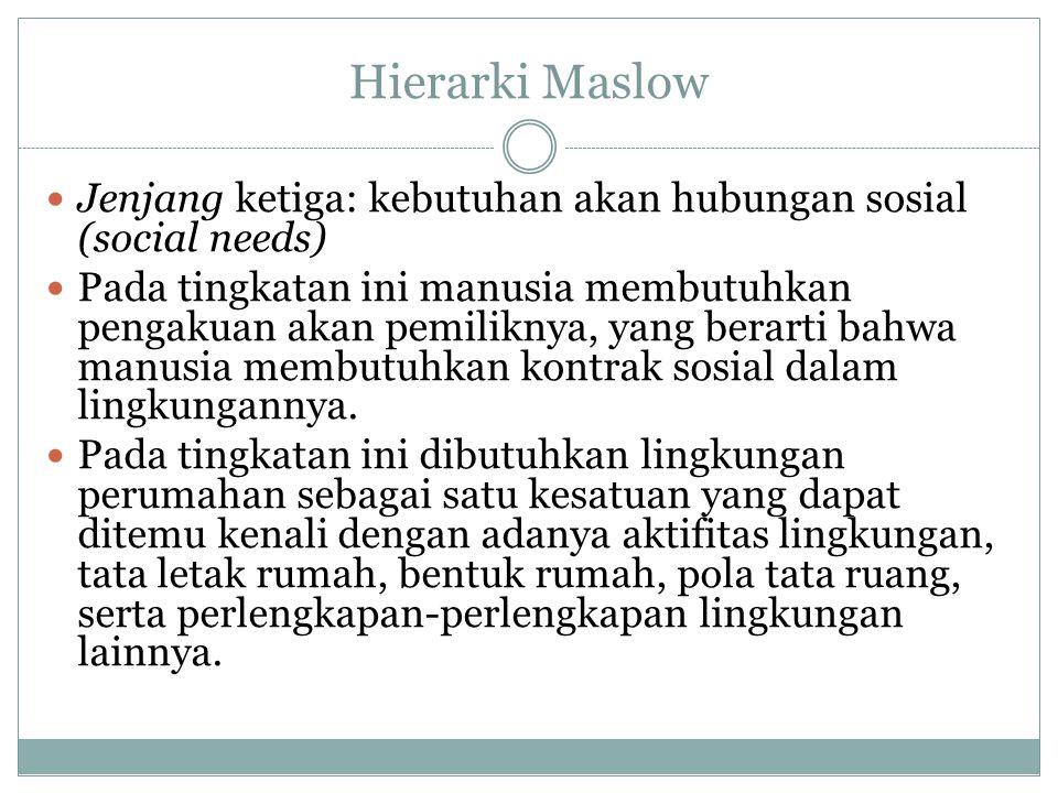 Hierarki Maslow Jenjang ketiga: kebutuhan akan hubungan sosial (social needs) Pada tingkatan ini manusia membutuhkan pengakuan akan pemiliknya, yang b