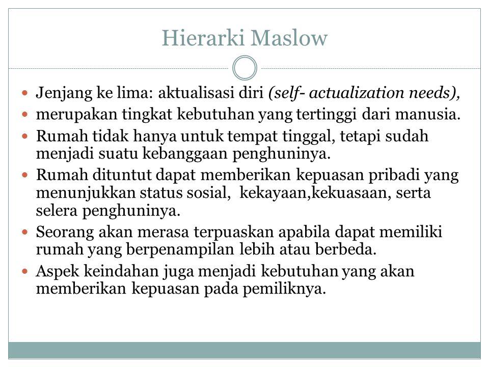 Hierarki Maslow Jenjang ke lima: aktualisasi diri (self- actualization needs), merupakan tingkat kebutuhan yang tertinggi dari manusia. Rumah tidak ha