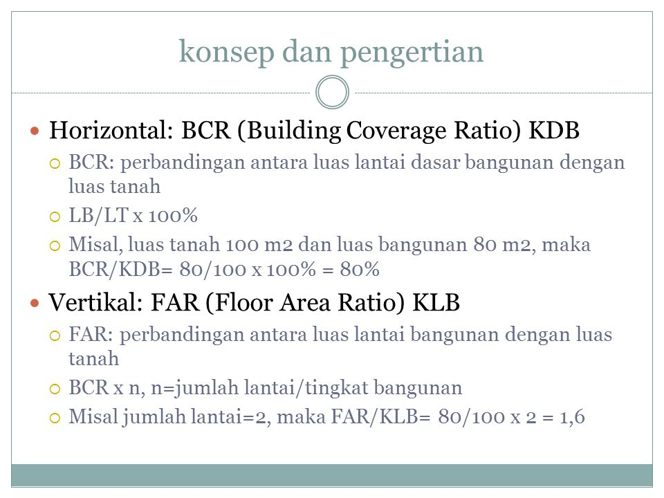 konsep dan pengertian Horizontal: BCR (Building Coverage Ratio) KDB  BCR: perbandingan antara luas lantai dasar bangunan dengan luas tanah  LB/LT x