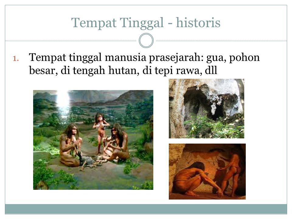 Tempat Tinggal - historis 1. Tempat tinggal manusia prasejarah: gua, pohon besar, di tengah hutan, di tepi rawa, dll
