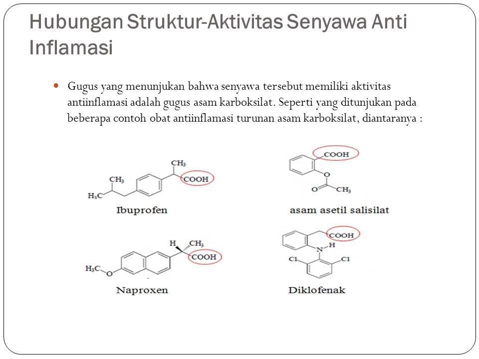 Hubungan Struktur-Aktivitas Senyawa Anti Inflamasi Gugus yang menunjukan bahwa senyawa tersebut memiliki aktivitas antiinflamasi adalah gugus asam kar