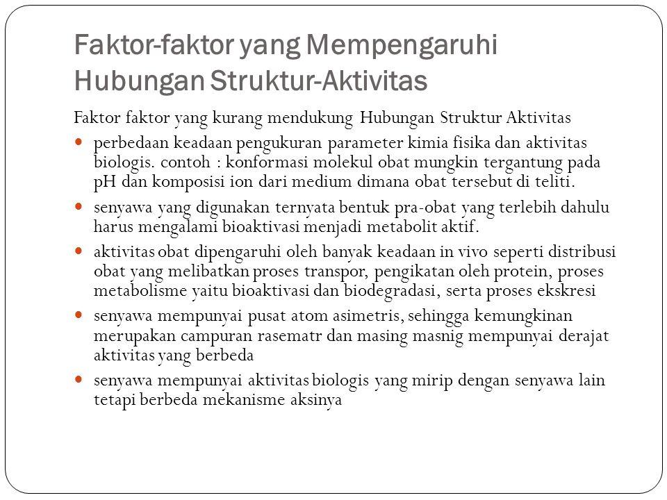 Faktor-faktor yang Mempengaruhi Hubungan Struktur-Aktivitas Faktor faktor yang kurang mendukung Hubungan Struktur Aktivitas perbedaan keadaan pengukur