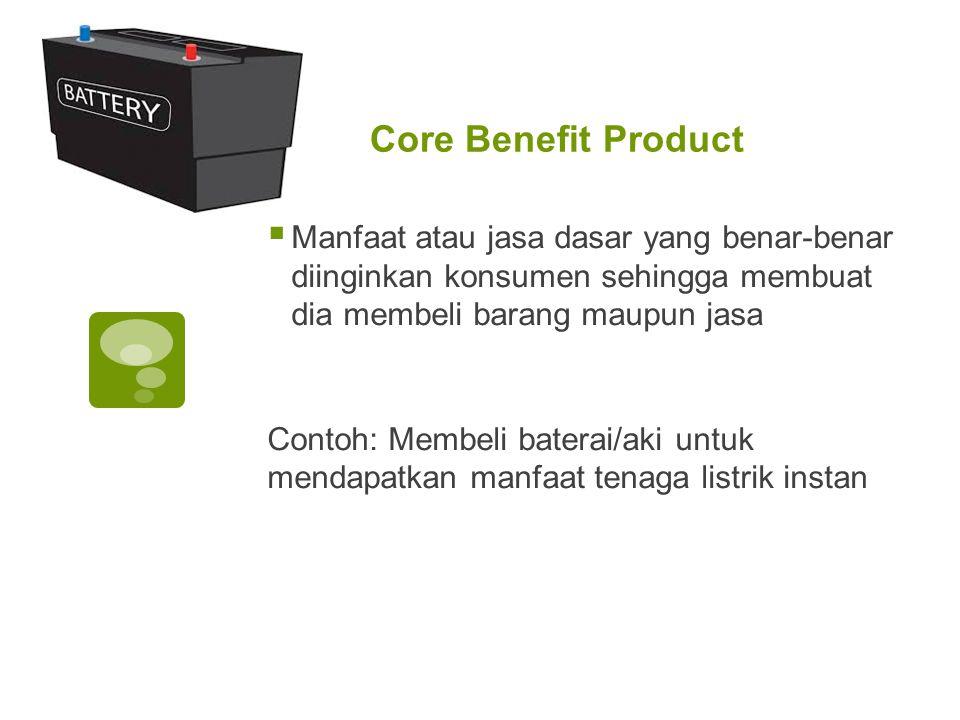 Core Benefit Product  Manfaat atau jasa dasar yang benar-benar diinginkan konsumen sehingga membuat dia membeli barang maupun jasa Contoh: Membeli ba